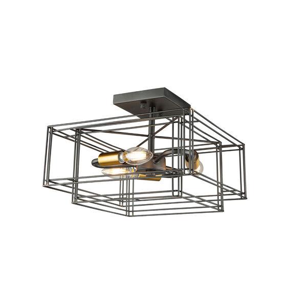Artisan Black and Brushed Brass Three-Light Semi-Flush Mount, image 3