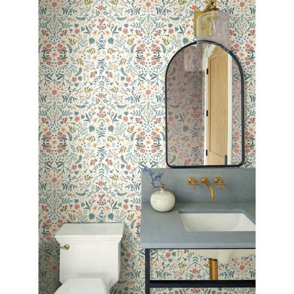 Rifle Paper Co. Beige and Coral Wildwood Wallpaper, image 1