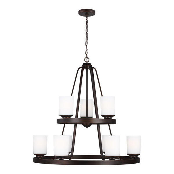 Kemal Bronze Nine-Light Chandelier with Etched White Inside Shade Energy Star, image 1