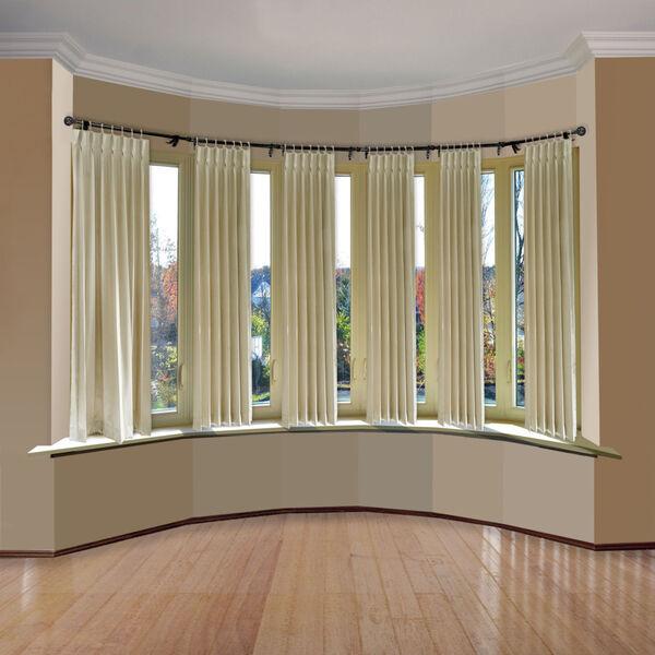 Leanette Black Six-Sided Bay Window Curtain Rod, image 2