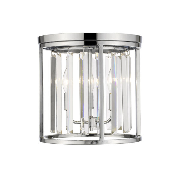 Monarch Chrome 12-Inch Three-Light Flush Mount With Transparent Crystal, image 1