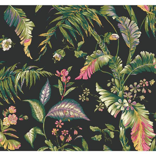 Ashford House Tropics Black and Green Fiji Garden Wallpaper, image 1
