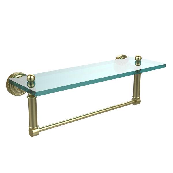 Satin Brass Single Shelf with Towel Bar, image 1