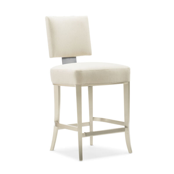 Caracole Classic Lightly Brushed Chrome and Beige Reserved Seating Counter Stool, image 1