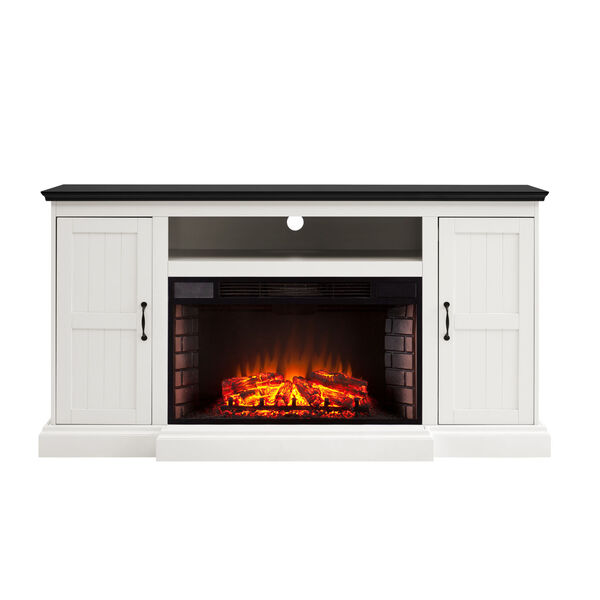 Belranton White and black Widescreen Electric Fireplace with Media Console, image 2