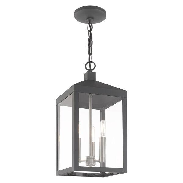 Nyack Scandinavian Gray Eight-Inch Three-Light Pendant Lantern, image 4