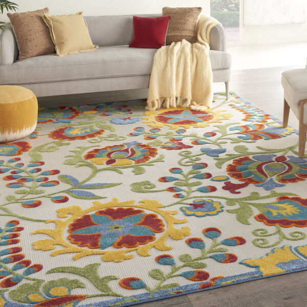 Aloha Yellow and Blue 12 Ft. x 15 Ft. Indoor/Outdoor Rectangle Area Rug, image 1