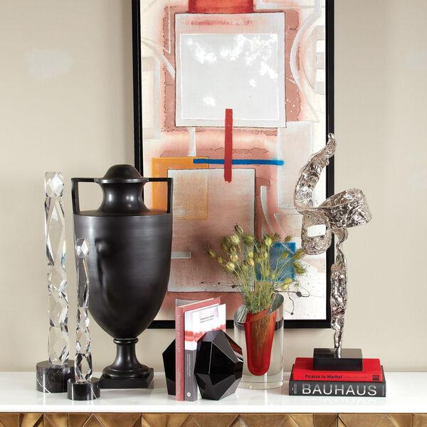 Crystal and Black Facette Column Sculpture, image 5