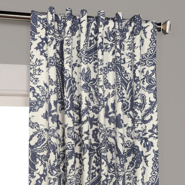 Edina Blue 120 in. x 50 in. Printed Cotton Curtain Panel, image 4