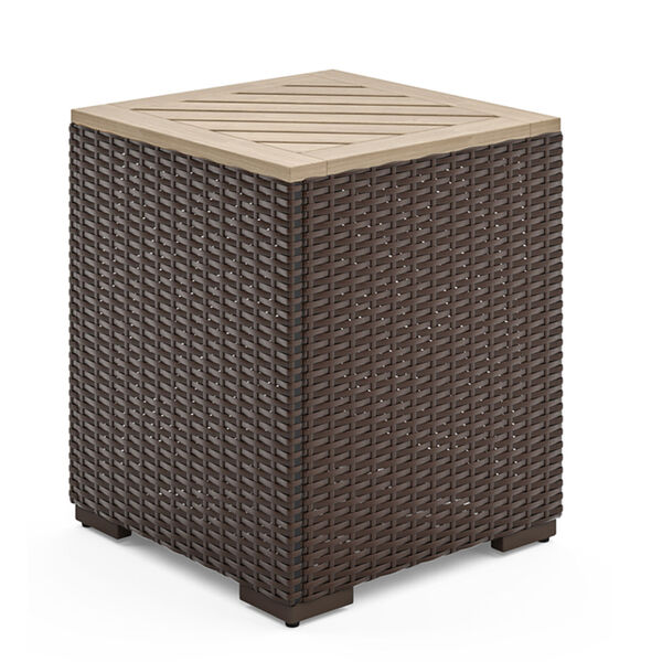 Palm Springs Brown Rattan Wood Three-Piece Outdoor Furniture Set, image 3