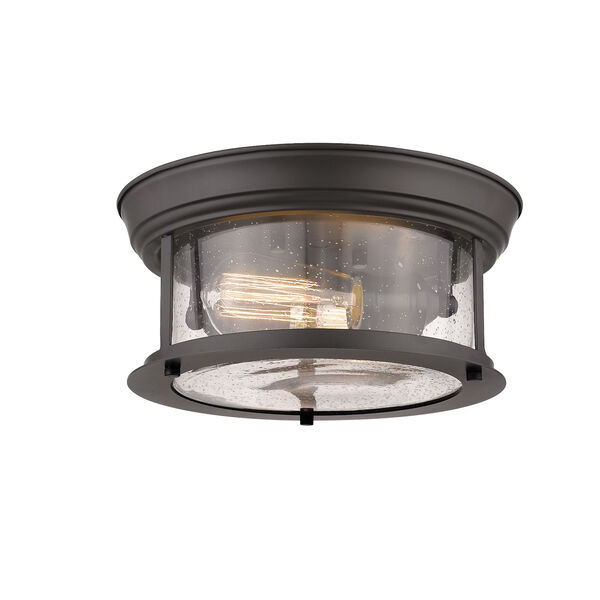 Sonna Bronze Two-Light Flush Mount with Transparent Seedy Glass, image 1