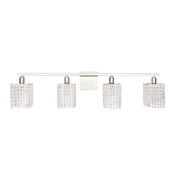 Phineas Chrome Four-Light Bath Vanity with Clear Crystals, image 3