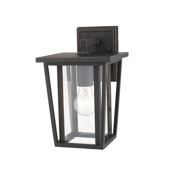 Seoul Oil Rubbed Bronze One-Light Outdoor Wall Sconce With Transparent Glass, image 3