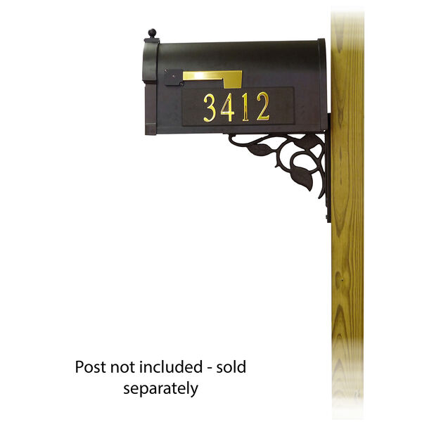 Curbside Black Mailbox with Front and Side Address and Floral Front Single Mailbox Mounting Bracket, image 3