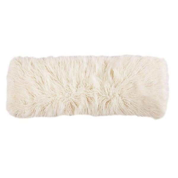 Mongolian Fur Cream 14 In. X 36 In. Throw Pillow, image 1
