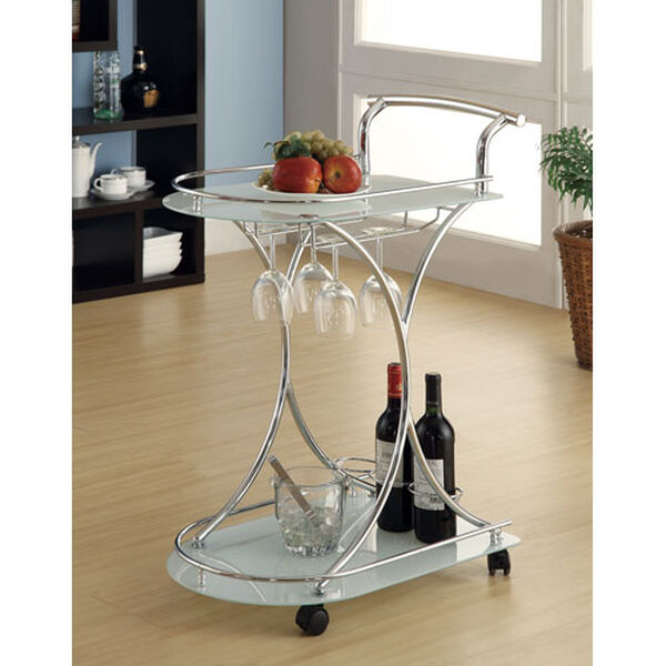 Serving Cart with Two Frosted Glass Shelves, image 1