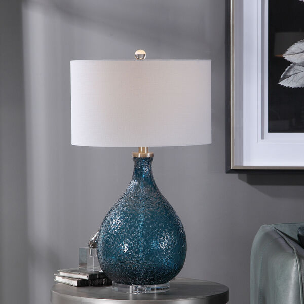 Eline Brushed Nickel and Blue Glass Table Lamp, image 2