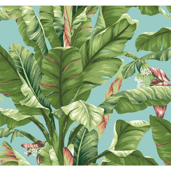 Ashford House Tropics Aqua and Green Banana Leaf Wallpaper, image 1