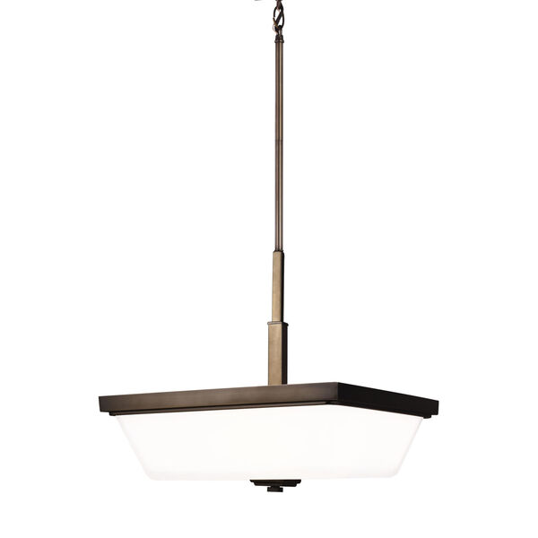 Ellis Harper Brushed Oil Rubbed Bronze Three-Light Pendant with Etched White Inside Shade Energy Star, image 3