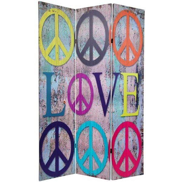 Six Ft. Tall Double Sided Multi - Color Peace and Love Room Divider, Width - 48 Inches, image 1