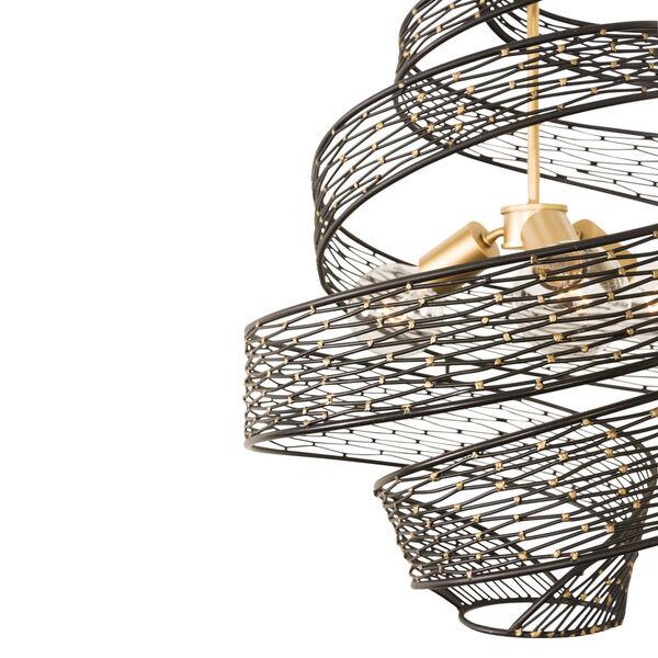 Flow Matte Black French Gold Three-Light Chandelier, image 2