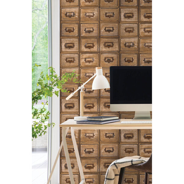 NextWall Library Card Catalog Peel and Stick Wallpaper, image 1
