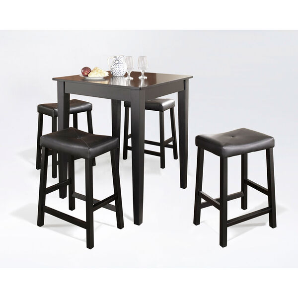 Five Piece Pub Dining Set with Tapered Leg and Upholstered Saddle Stools in Black Finish, image 2