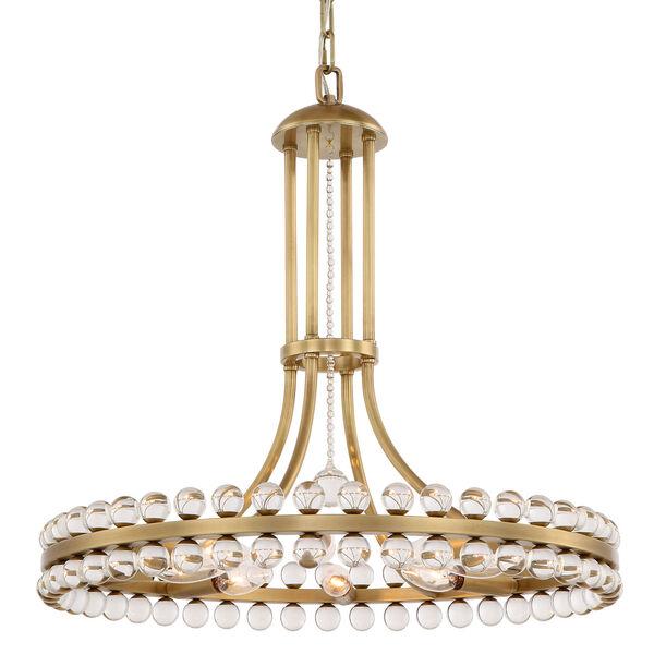 Clover Eight-Light Aged Brass Chandelier, image 1