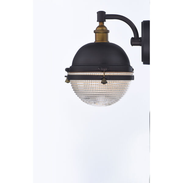 Portside Oil Rubbed Bronze and Antique Brass 10-Inch One-Light Outdoor Wall Mount, image 4