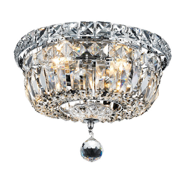Tranquil Chrome Four-Light 10-Inch Flush Mount with Royal Cut Clear Crystal, image 1