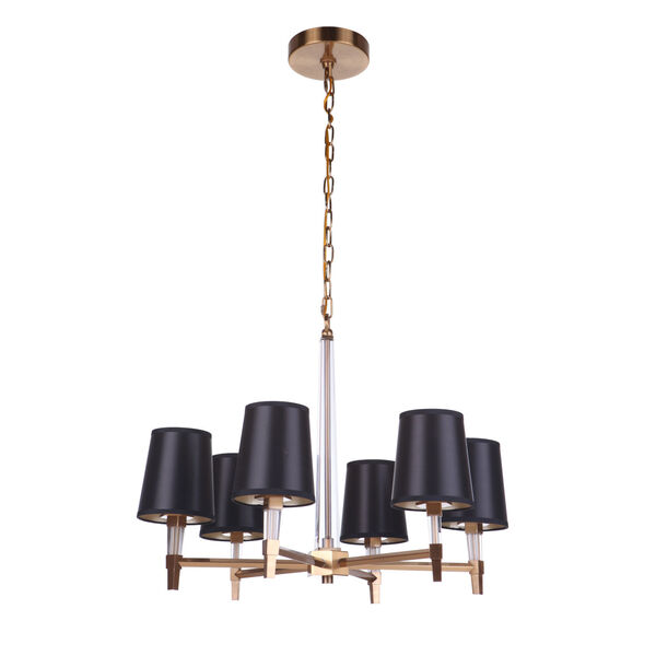 Tarryn Satin Brass Six-Light Chandelier, image 3