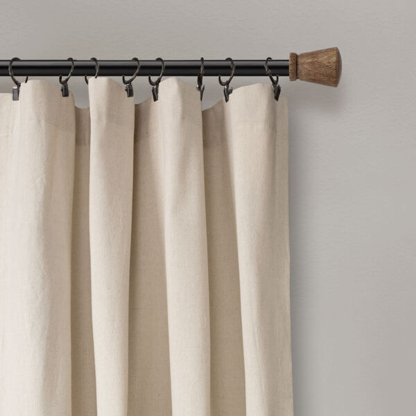 Linen Button Beige and Off White 40 x 108 In. Single Window Curtain Panel, image 3