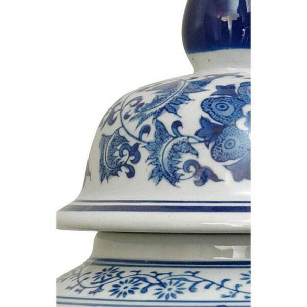 18 Inch Porcelain Temple Jar Blue and White Floral, Width - 10 Inches, image 3