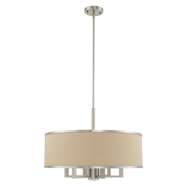 Park Ridge Brushed Nickel 24-Inch Seven-Light Pendant Chandelier with Hand Crafted Ash-Gray Linen Hardback Shade, image 2