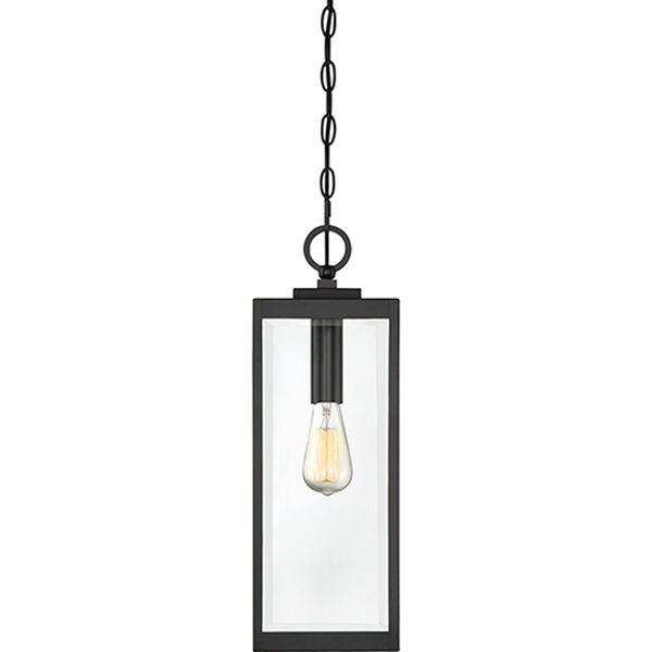 Pax Black One-Light Outdoor Pendant with Beveled Glass, image 4
