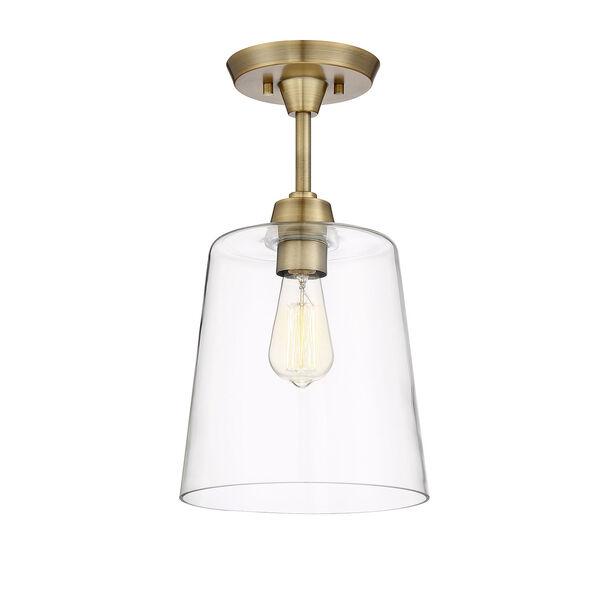 Nicollet Natural Brass 10-Inch One-Light Semi Flush Mount, image 3