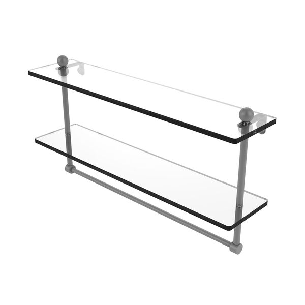 Prestige Regal Matte Gray 22-Inch Two Tiered Glass Shelf with Integrated Towel Bar, image 1