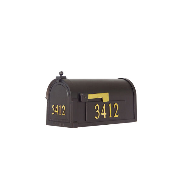 Curbside Black Mailbox with Front and Side Address Numbers and Baldwin Front Single Mounting Bracket, image 1