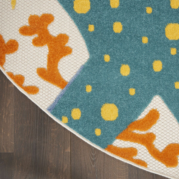 Aloha Orange and Blue 4 Ft. x 4 Ft. Round Indoor/Outdoor Area Rug, image 4