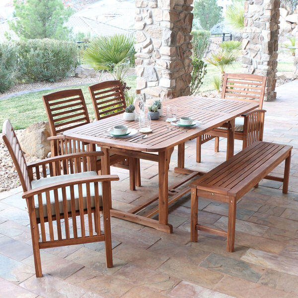 6-Piece Brown Acacia Patio Dining Set with Cushions, image 1