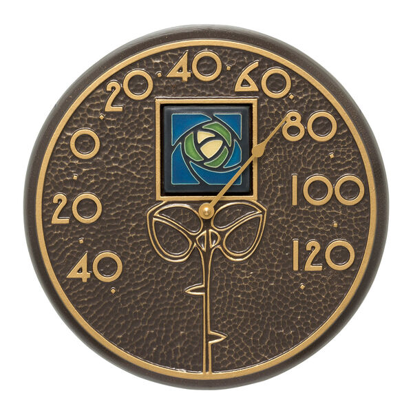 Blue Dard Hunter Rose French Bronze Indoor Outdoor Wall Thermometer, image 1