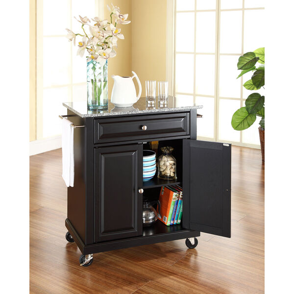 Solid Granite Top Portable Kitchen Cart/Island in Black Finish, image 2