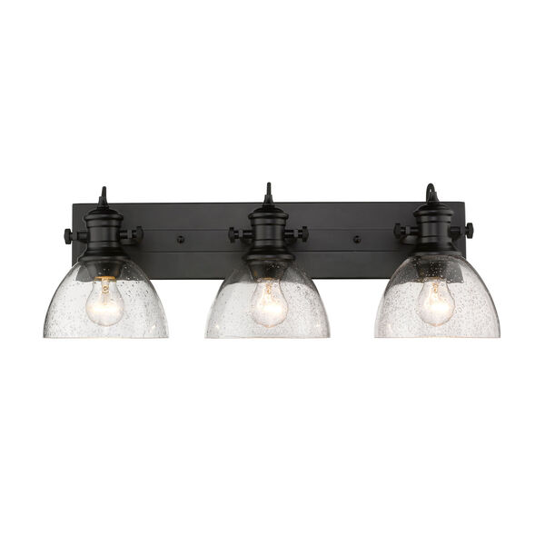 Hines Black 25-Inch Three-Light Bath Vanity with Seeded Glass, image 1