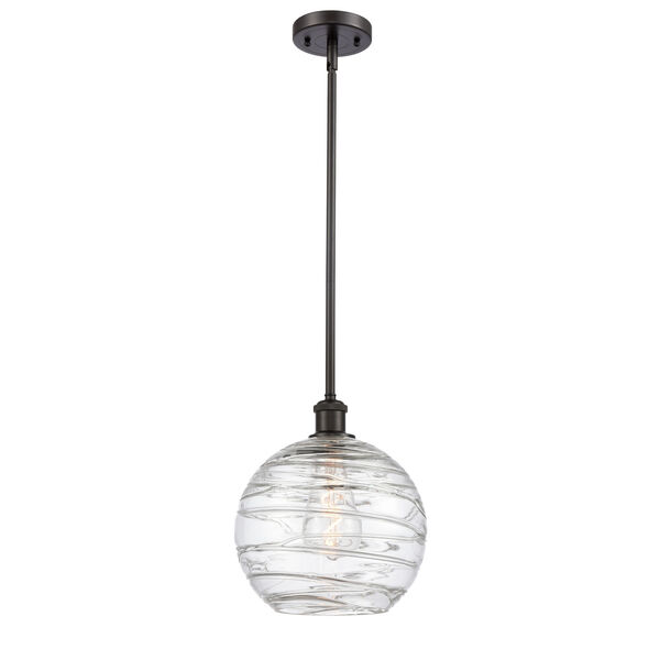 Ballston Oil Rubbed Bronze 10-Inch One-Light Pendant with Clear Large Deco Swirl Shade, image 1