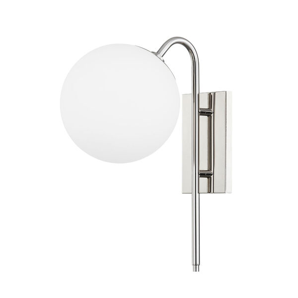 Ingrid Polished Nickel One-Light Wall Sconce with Opal Glass, image 1