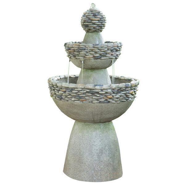 Stone Grey Outdoor Garden Zen Three - Tier Waterfall Fountain, image 1