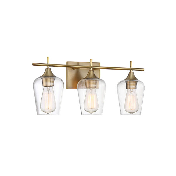 Octav Warm Brass 21-Inch Three-Light Bath Vanity, image 2