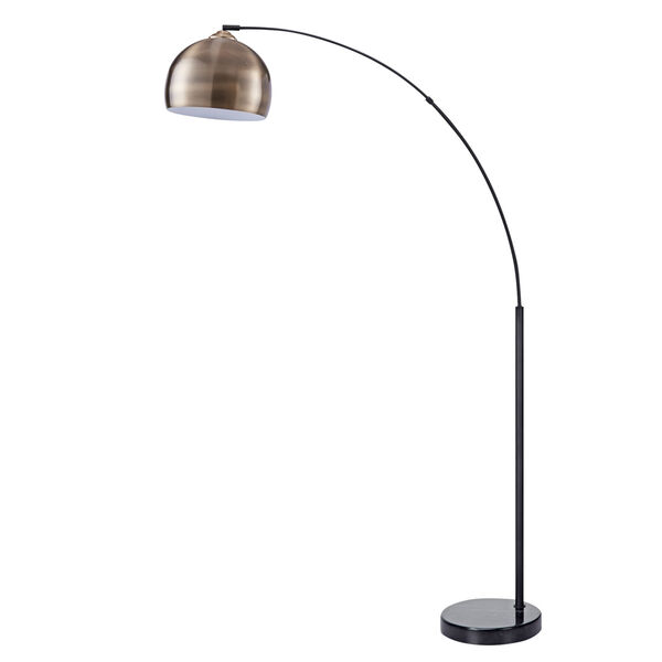 Arquer Antique Brass and White Marble Arc Floor Lamp, image 5