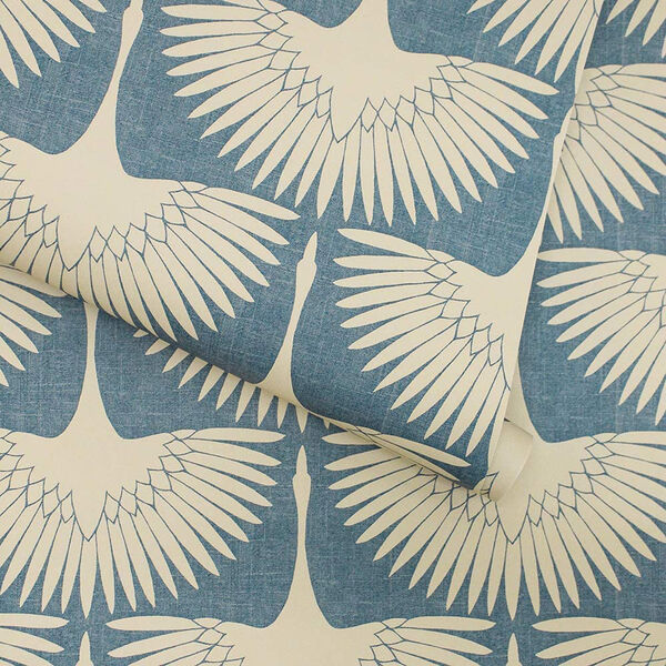 Feather Flock Denim Blue 28 Sq. Ft. Peel and Stick Wallpaper, image 6