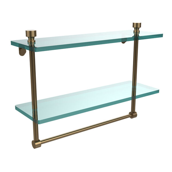 Brushed Bronze 16 Inch Double Glass Shelf with Towel Bar, image 1